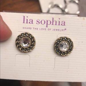 Lia Sophia button stud earrings new on card